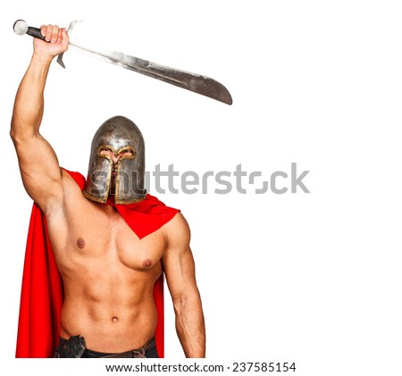 Image of brave warrior who raised his weapon  - stock photo