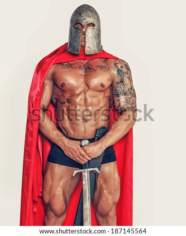 Image of brave warrior with weapon  - stock photo