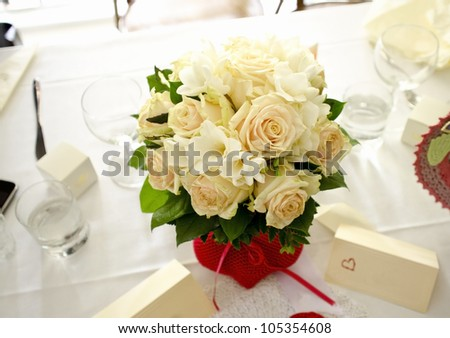 Image of bridal bouquet on the table