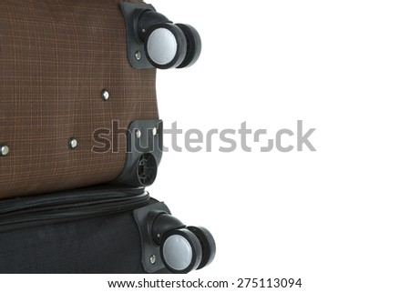 image of broken suitcases after fliying with space for text - stock photo