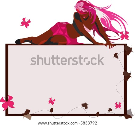 image of bronzed sexy woman on the empty frame