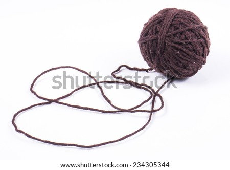 Image of brown wool ball, isolated close up. - stock photo