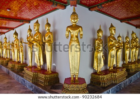 image of buddha in thailand temple - stock photo