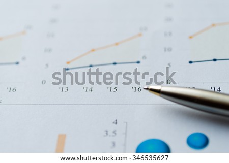 Image of business analysis, chart, graph, and pen