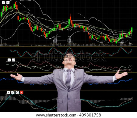 Image of business and investment concept. Double exposure of an investor, stock analysis graph and city background. - stock photo