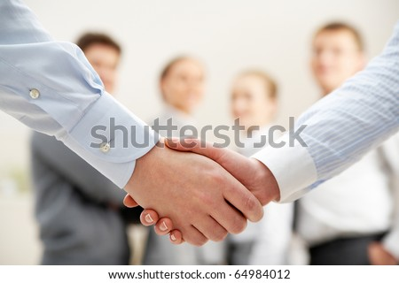 Image of business handshake after making agreement - stock photo