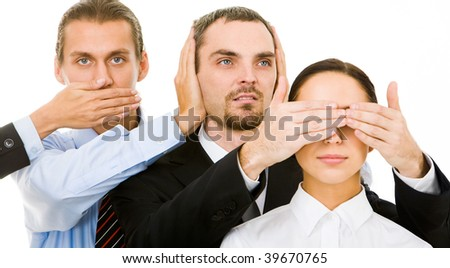 Image of business partners closing eyes, mouth and ears of each other - stock photo