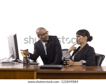 Image of business people discussing a business problem in the office isolated on a white background