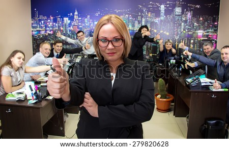 Image of business woman in glasses in office - stock photo