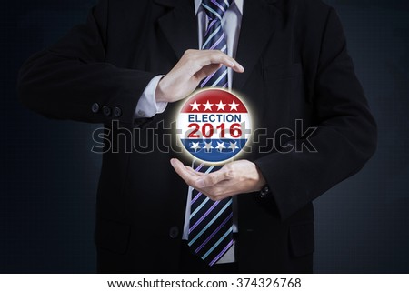 Image of businessman hands giving protection on the election 2016 symbol - stock photo