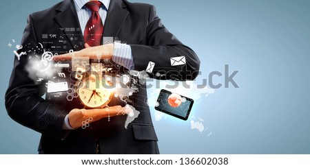 Image of businessman holding alarmclock against illustration background. Collage - stock photo
