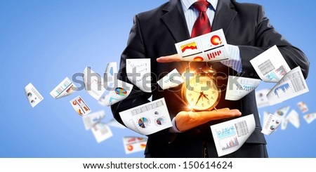 Image of businessman holding alarmclock against illustration background. Collage - stock photo