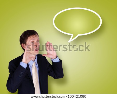 Image of businessman in suit talking and shouting - stock photo