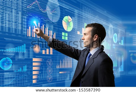 Image of businessman pushing icon of media screen. Marketing concept