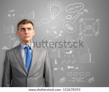 image of businessman thinking about innovation in business, sketch on the wall of charts and diagrams