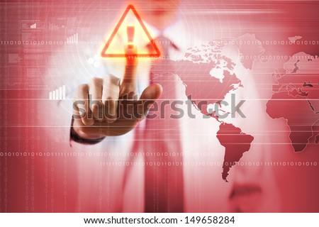 Image of businessman touching virus alert icon - stock photo