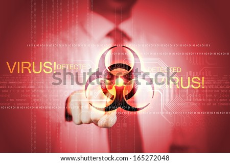 Image of businessman touching virus alert icon - stock photo