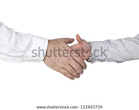 Image of businesspeople in a long sleeve suit doing a hand shake - stock photo