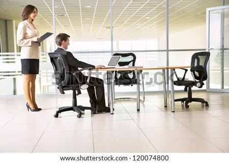 Image of businesspeople working at meeting - stock photo