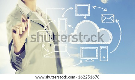 Image of businesswoman drawing business strategy plan
