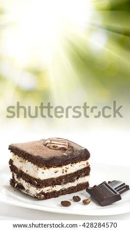 image of cake on a plate closeup  - stock photo