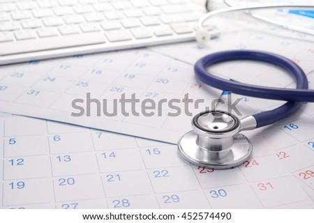Image of Calendar And Stethoscope - stock photo