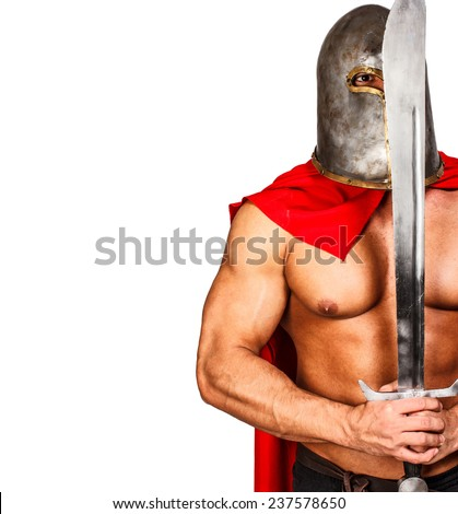 Image of calm warrior who is holding his sword in front of his face - stock photo