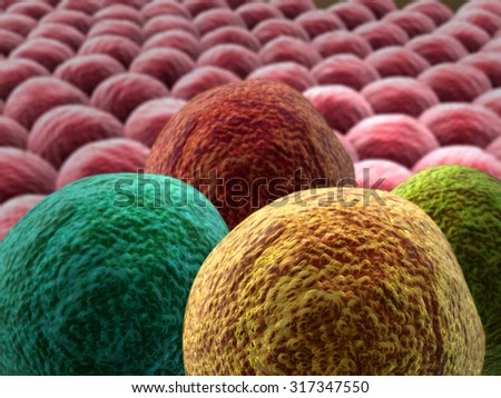 image of cancer cells, 3d rendered cancer cell, Clusters of  infected cells, cancer cells on the living cells - stock photo