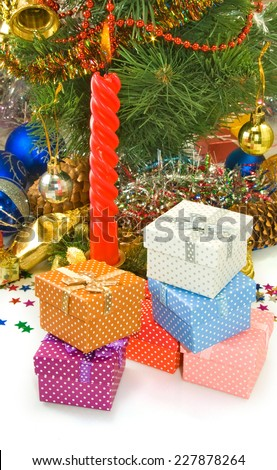 image of candles on the Christmas tree background - stock photo