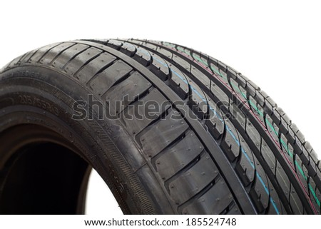 image of car tire isolated on a white background. - stock photo