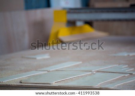 Image of carpenters work table on the workshop