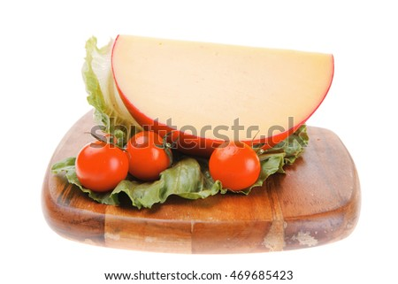 image of cheese with tomatoes with lettuce leaf