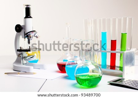 Image of chemistry or biology laborotary equipment - stock photo