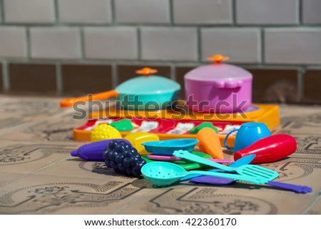 Image of children's dishes  close-up. Copy space.