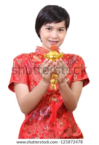 Image of chinese woman hold ornament on her hand and happy chinese new year