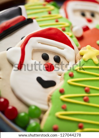 Image of christmas biscuit close up - stock photo