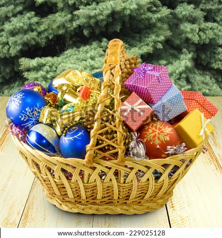 image of christmas decoration near the Christmas tree closeup - stock photo
