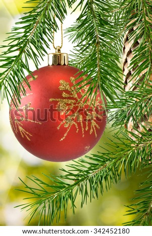 Image of Christmas decorations on the Christmas tree closeup - stock photo
