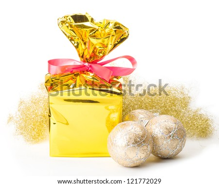 Image of christmas gift box and balls