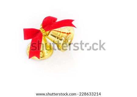 Image of christmas ornaments bells and red ribbons - stock photo