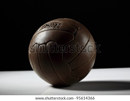 image of classic leather soccer ball - stock photo