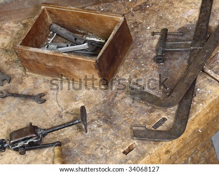 image of classic vintage old carpenter tools on work wood table