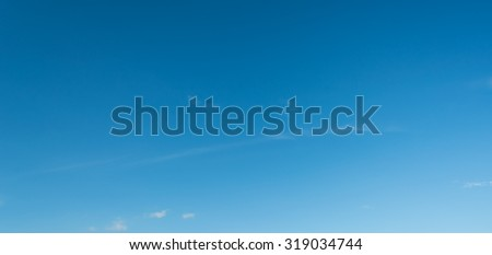 image of clear blue sky on day time for background usage(horizontal). - stock photo