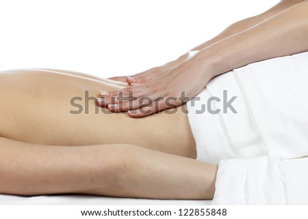 Image of close up image of female having back massage against white background