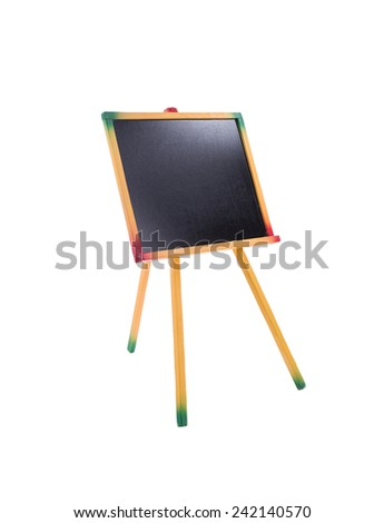Image of close up of an empty chalk board on tripod. Side view - stock photo