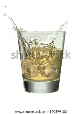 Image of cocktail drink with ice splash against white background
