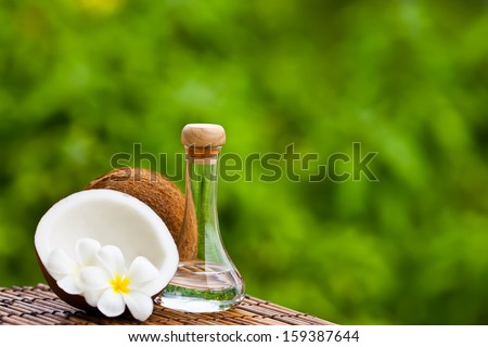 Image of Coconut and coconut oil - stock photo