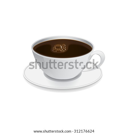 image of coffee cup standing on saucer - stock photo