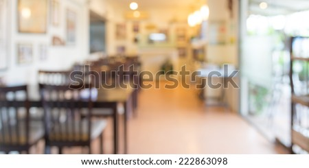 image of Coffee shop blur background with bokeh - stock photo