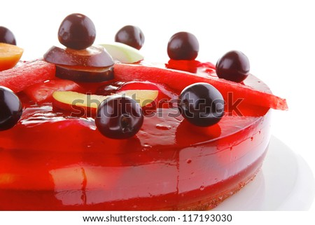 image of cold red jelly cake with cherry and watermelon - stock photo
